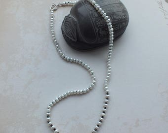 Hand Knotted Freshwater Pearl & Black Spinel Necklace