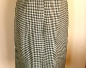 1950s Wool Houndstooth Pencil Skirt