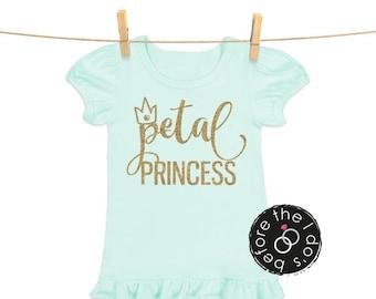 Glittery Petal Princess {with Crown} Tee for Little Girls /// Flower Shirt, Petal Shirt, Wedding Shirt | #1809