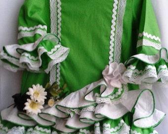 Flamenco costume for baby girl,Costume parties,birthdays, birthday present,spanish flamenco dress for 2 year old,green flamenco dress