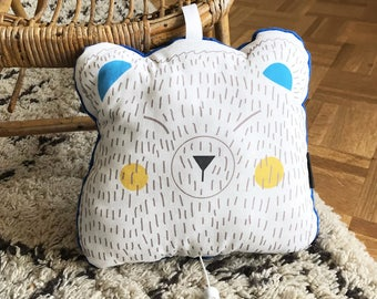Musical bear cushion for baby - music box get lucky from Daft Punk