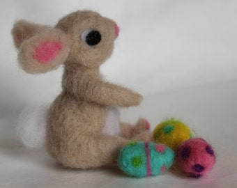 Easter Bunny, Needle Felted Bunny, Ready to Ship, 1 Tan Bunny with 3 Easter Eggs, Handmade, Waldorf Inspired