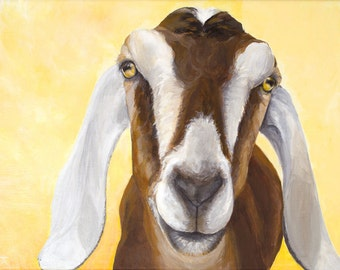 """Nubian Goat, """"You Are My Sunshine"""" giclée print from original painting"""