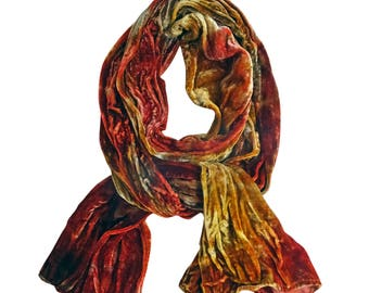 Trending now, velvet scarves, boho fall scarf, velvet, bestfriend gift, wife scarf gift, scarf fashion boho, orange, gold, taupe, velvet, B