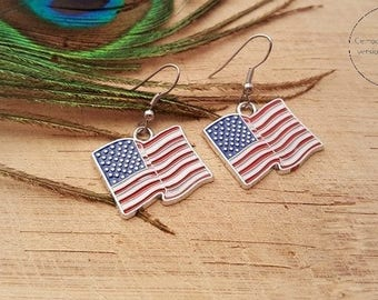 Necklace/earrings United States of America flag USA United States flag earrings charms-necklace/earrings