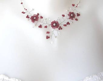 Burgundy and ivory bridal Daisy collection 'Twist' c
