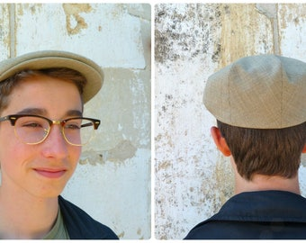Vintage French grandpa  men beige light cap