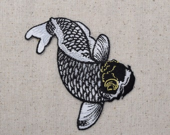 Koi Fish - Black, White, Gold - Iron on Applique - Embroidered Patch - 696978-A