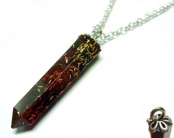 Resin Crystal Pendant - Red Gold Flaked - 22 Inch Sterling Silver Necklace