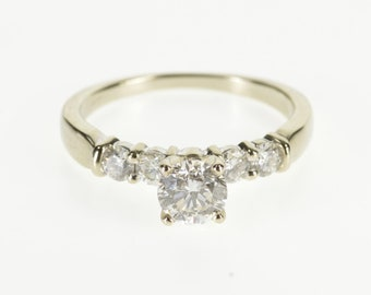 14K 1.10 Ctw Round Brilliant Cut Diamond Engagement Ring Size 7 White Gold