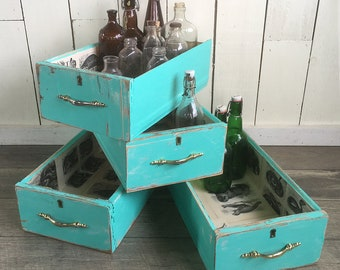 Shabby Turquoise Blue Dresser Drawer, Upcycled Salvaged Drawer, Cottage Chic Wood Storage & Display Box
