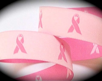 "Breast Cancer Ribbon in 5/8"" x 3 yds - Woven Jacquard Ribbon"