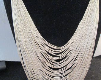 RARE & Gorgeous>75 Graduated Strand Liquid Silver Necklace>Flows like water over your neck>STERLING SILVER> Wrap yourself in Luxury! -JNN019