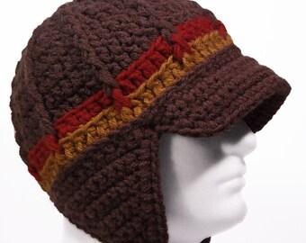 Newsboy Style Beanie Hat with Earflaps and Visor Brim - RETRO SUNRISE