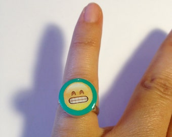 Mood Rings Emoji - aqua - Wooden Rings - Cute Handmade Rings - Showing teeth