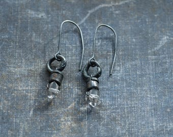 clear crystal earrings, reticulated silver earrings, raw sterling silver, rough lanterns, black silver, unpolished silver