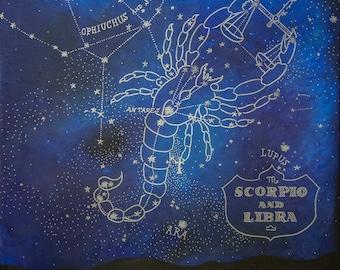 Zodiac Constellation Acrylic Painting on Canvas by Breanna Deis
