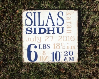 Personalized Birth Announcement Sign Hand Painted Rustic