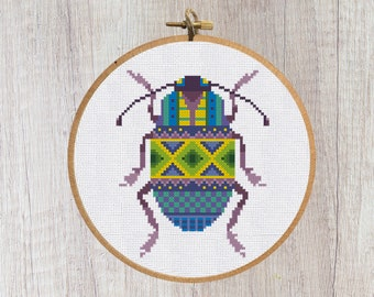 Cross Stitch Pattern Bug with ornament Instant Download PDF Counted Chart