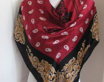 "Beautiful Burgundy Black Large Silk Scarf // 35"" 90cm Square // Best of the Best"