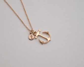 personalized anchor necklace hand stamped disc initial necklace dainty delicate gold monogram necklace bridesmaid necklace