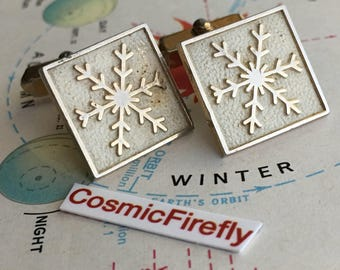 Men's Vintage Cufflinks Winter Snowflake Cufflinks Steampunk Cufflinks Men's Cufflinks Antique Cufflinks SWANK Cufflinks