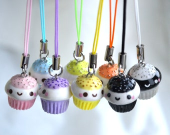 Cupcake Charm with Cellphone Strap - Kawaii Miniature Food Polymer Clay