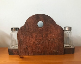 Wooden Napkin Holder With Salt & Pepper Shakers
