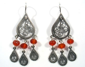 Silver long oxidized  filigree Chandelier and stones- Dance with me