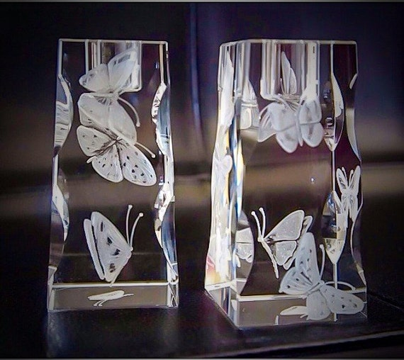 Pair of Hand Engraved Butterfly crystal candlesticks, engraved crystal gifts, office decor, home decor, crystal candlesticks, wedding gifts