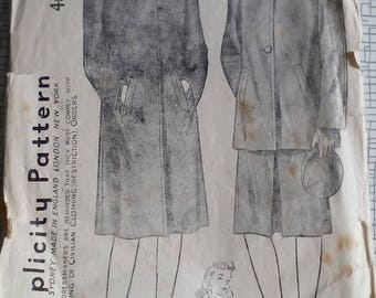 """1940s Coat - 34"""" Bust - Simplicity 4606 - Vintage Sewing Pattern"""
