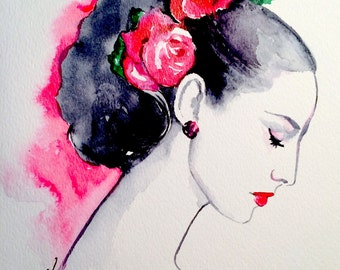 Flowers Girl Watercolor Art Print - Fashion Illustration -  Watercolor by Lana Moes - Romantic Bliss