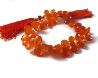 Carnelian Beads, 9mm x 5mm Faceted Pear Shaped Briolettes, 8 Inch Strand of Natural Gemstones for Making Jewelry (B-Ca5a)
