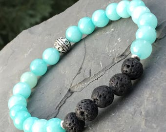 Blue and black beaded bracelet; amazonite bracelet; lava rock bracelet; men's bracelet; women's bracelet; stone bracelet; beaded bracelet