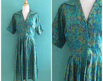 vintage 50's teal print shirt waist dress // 50's spring dress