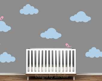 Baby Nursery Decal Set with Fluffy Clouds and Cute Birds