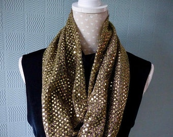 REDUCED Gold snood, gold cowl, soft sequin loop scarf, gold sparkly snood / cowl with soft sequins