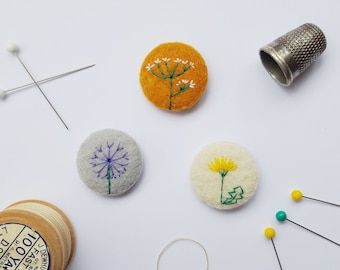 flower pin badge set -  mustard felt - dandelion, allium and hogweed illustration - floral embroidery - eco stocking filler