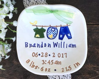 Personalized Baby Boy Birth Plate - Gift for Baby - Baby Plate Personalized - Boys Birth Announcement Plate w/ Birth Stats - New Mom Gift