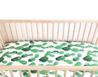 Crib Sheet Watercolor Cactus. Fitted Crib Sheet. Baby Bedding. Crib Bedding. Crib Sheets.