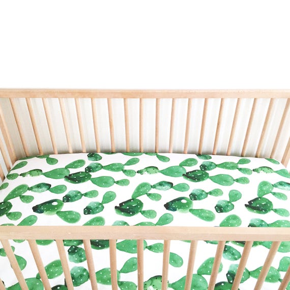 crib sheet watercolor cactus fitted crib sheet baby bedding. Black Bedroom Furniture Sets. Home Design Ideas