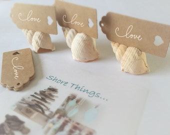 Shell Place Card Holders, Beach Wedding, Nautical Style, Shell Name Card Holder