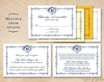 Printable Wedding Enclosure Cards - Ornate Frame - 3.5x5 - Ornate Frame - Formal Elegant Vintage Navy Blue White Brown Ivory Red Yellow Gold