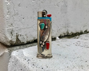 Native American sterling silver vintage turquoise coral southwestern lighter jacket case cover