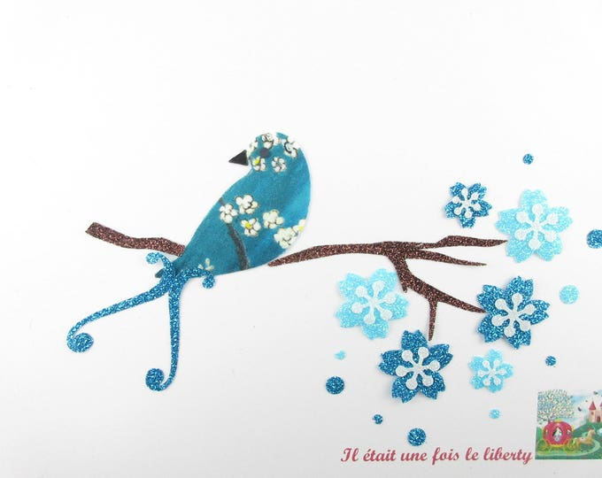 "Applied fusible bird liberty Pamela Judith blue ""on a lyre bird cherry branch"" appliquéd liberty iron on patch"