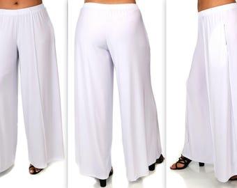 Comfy Plus Pants, White Pants, Plus Size Pants, Lagenlook Pants, Palazzo Pants, Palazzao Pnts, Size XL To 5XL