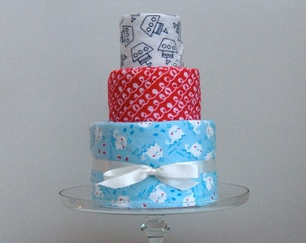 Handmade Receiving Blankets Set of Three - Baby Shower Gift Blanket Cake - Hot Pink, Blue and White for Baby Girl
