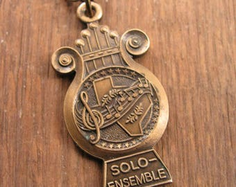 Music Jewelry - Lyre Shape Pendant - Treble Clef - State of Texas - Vintage Music Award Medal Necklace