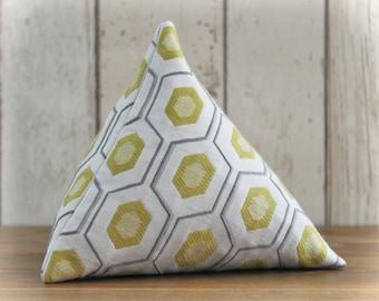 Fabric Doorstop, Doorstopper in Grey, Yellow and Cream Fabric, Triangular, Pyramid Shape