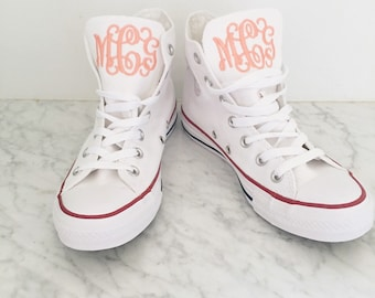 HIGH TOP Women's Monogrammed Converse White/Pink/Navy/Charcoal